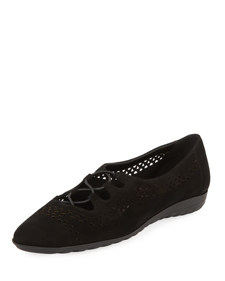 Sesto Meucci Bizzy Perforated Slip-On Flat, Black
