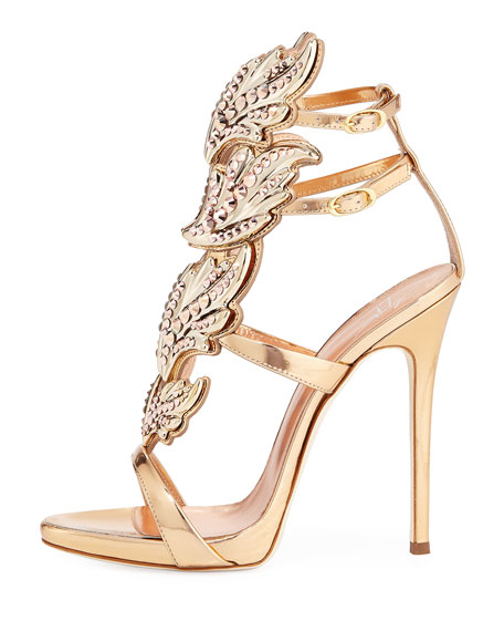 Coline Wings Leather 110mm Sandal, Rose Gold