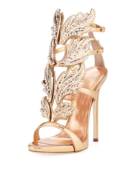 Giuseppe Zanotti Coline Wings Leather 110mm Sandal, Rose