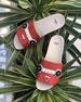 Faces Flat Slide Sandal, Red