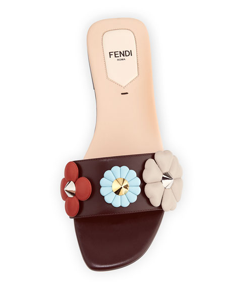 Three-Flower Flat Slide Sandal, Bordeaux