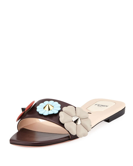 Fendi Three-Flower Flat Slide Sandal, Bordeaux