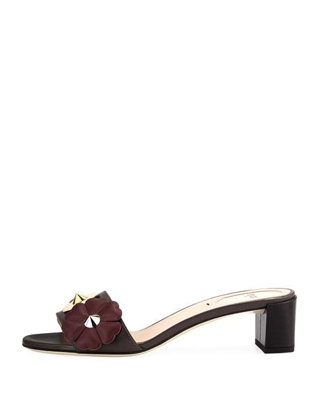 Flowerland Block-Heel Slide Sandal, Gray