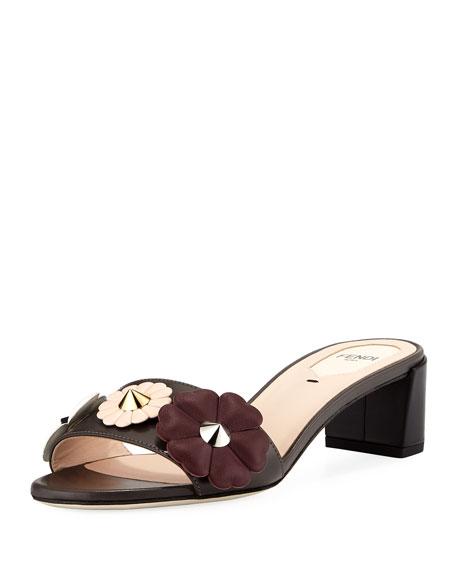 b2ef251598eb Fendi Flowerland Block-Heel Slide Sandal