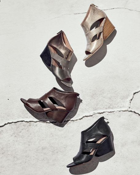 Jenkin Leather Demi-Wedge Sandal, Black