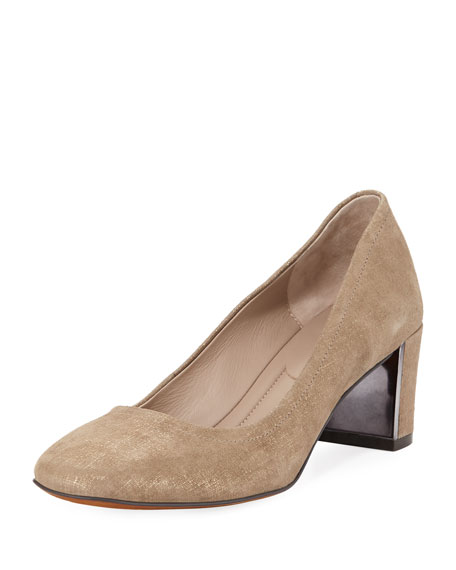 Corin Distressed Metallic Leather Pumps