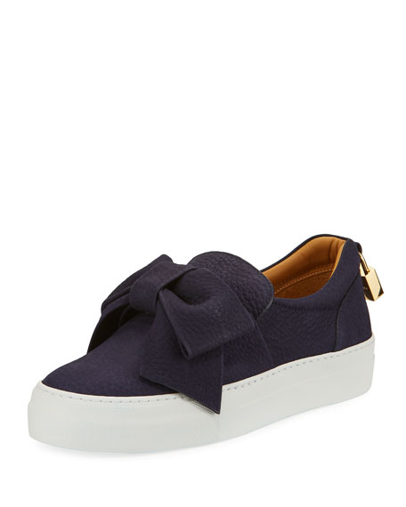 Buscemi 40mm Pebbled Nubuck Bow Sneaker, Blue Ink