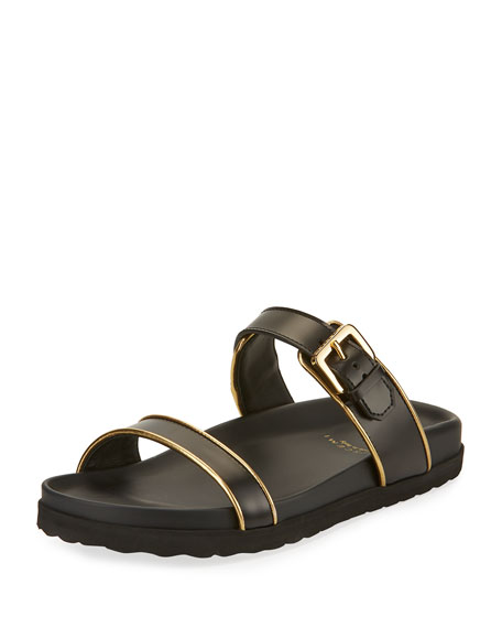 Buscemi Molded Band Flat Slide Sandals, Black