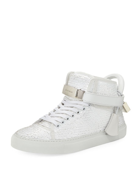 100mm Sequin Lace-Up High-Top Sneakers, White