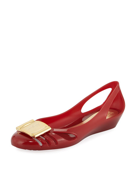 Salvatore Ferragamo Jelly Ballerina Flat, Red