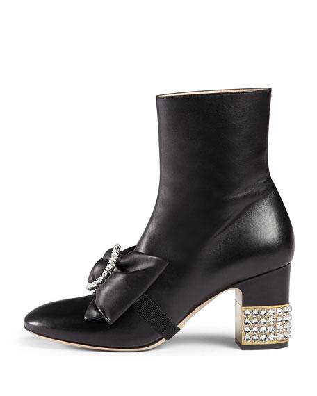 Candy Embellished Mid-Heel Bootie, Black