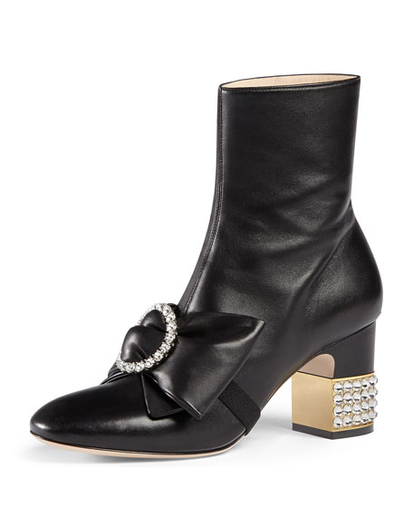 Gucci Embellished Mid-Heel Booties, Black