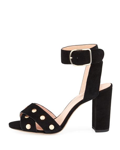 oakwood city studded city sandal, black