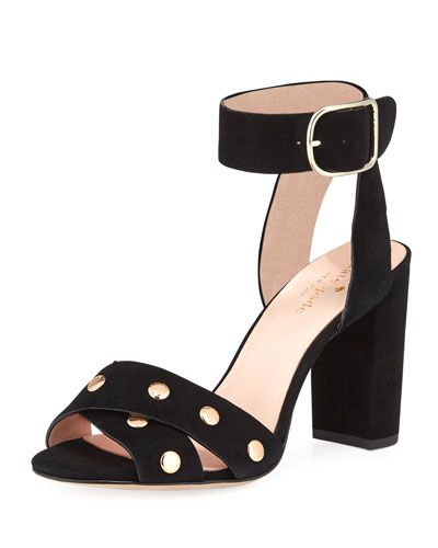 oakwood city studded city sandal, black
