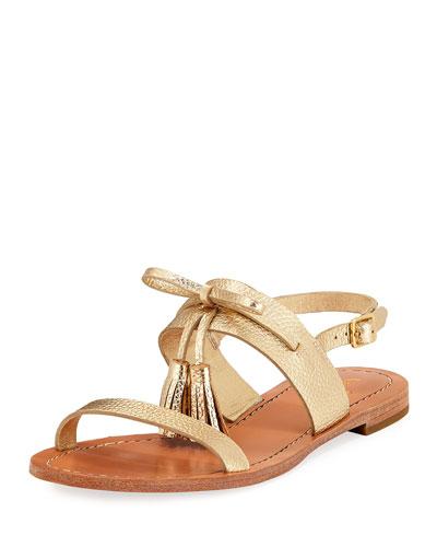 carlita flat metallic tassel sandal