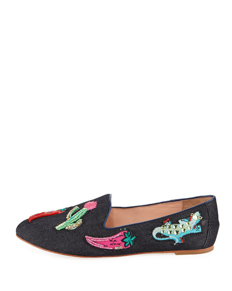 saville denim embellished loafer