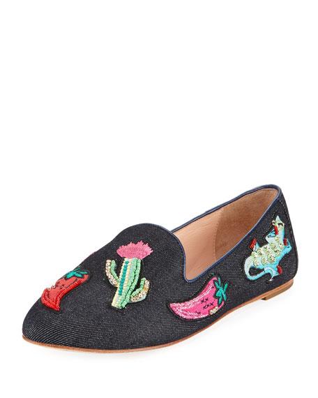 saville denim embellished loafer