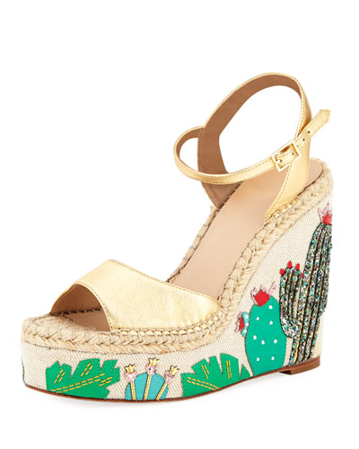 dallas cactus platform wedge sandal