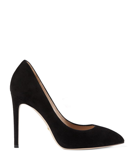 Sylvie Suede Web Mary Jane Pumps, Black