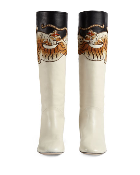 Pam Tiger-Embroidered Tall Boot