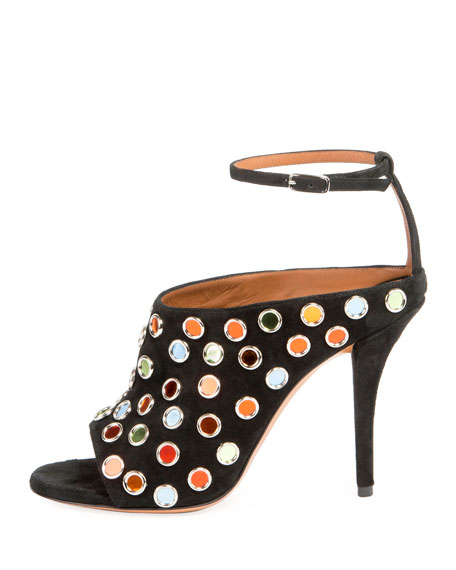 Multicolor-Studded Suede Sandal, Black