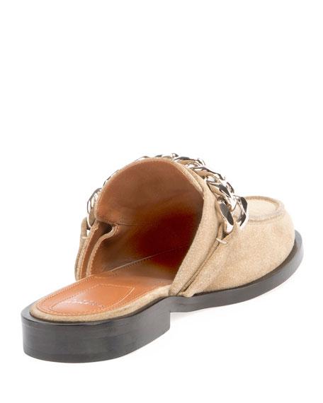 Suede Flat Mule Loafer, Beige/Camel
