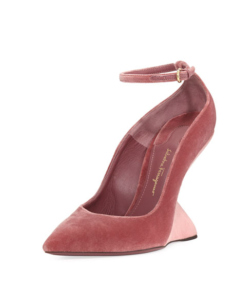 Salvatore Ferragamo Arsina 105 Velvet Wedge Pumps, Blush