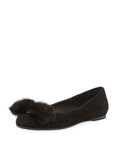 Fur-Bow Suede Ballerina Flat, Black