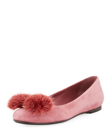 Salvatore Ferragamo Fur-Bow Suede Ballerina Flat, Pink