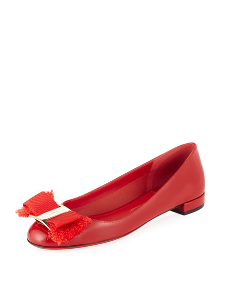 Salvatore Ferragamo Fringe Vara Bow Patent Ballerina Flat,