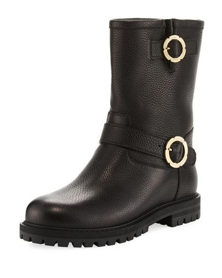 Salvatore Ferragamo Leather Buckle Boot, Nero
