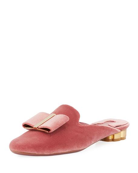 Salvatore Ferragamo Velvet Slide Flat Mule, Blush