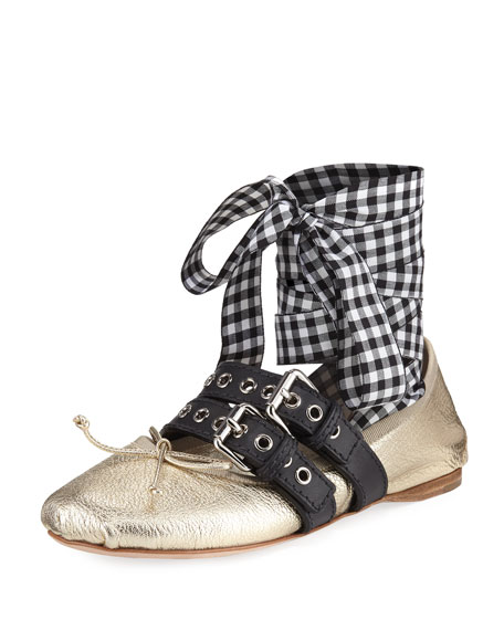 Metallic Flat with Gingham Wrap, Gold