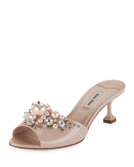 Miu Miu Pearlescent Embellished Slide Sandal, Beige