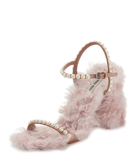 Miu Miu Furry Pearlescent Sandal, Neutral