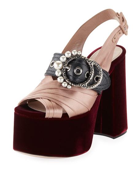 Velvet Platform Buckle Sandal