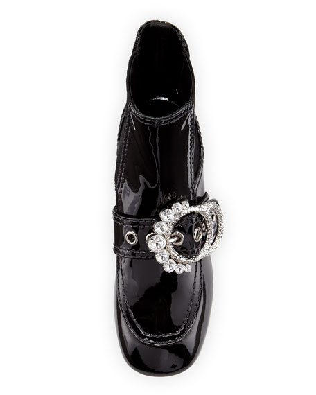 Crystal-Embellished Patent Booties, Black
