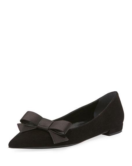 Prada Suede Bow Ballerina Flat, Black