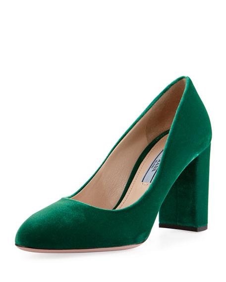 Prada Forma Velvet 85mm Block-Heel Pump, Green