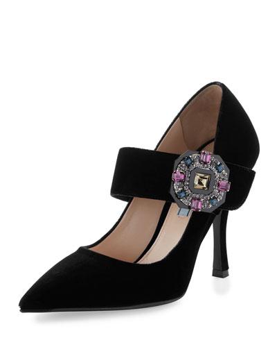 Forma Embellished Velvet Pump, Black