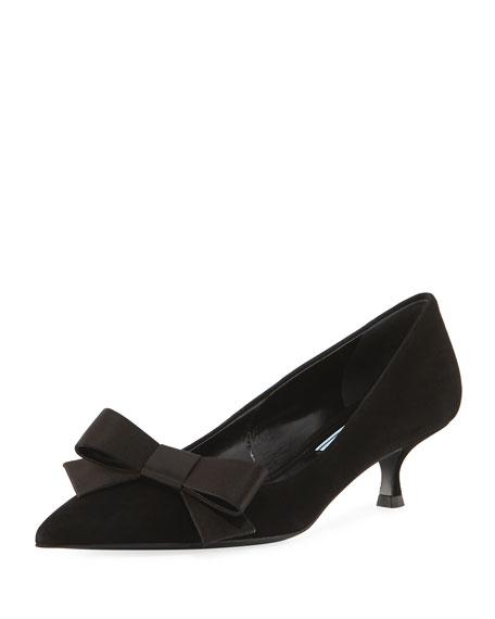 Prada Suede Kitten-Heel Bow Pump, Black