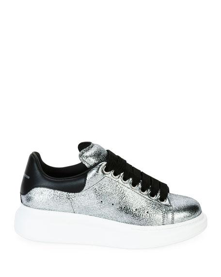 Metallic Lace-Up Platform Sneaker, Silver/Black