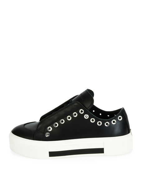Lace-Up Sneaker with Grommet Trim, Black