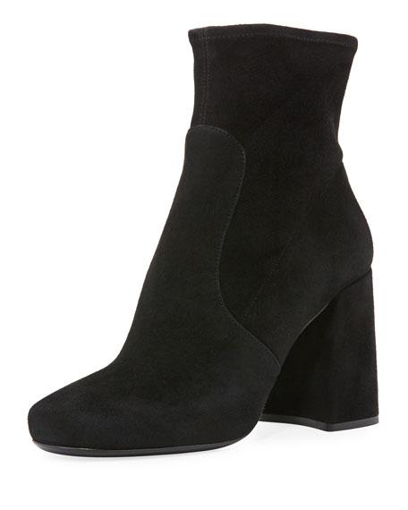 Prada Forma Suede Chunky-Heel Bootie, Black
