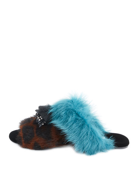 Colorblock Fur Flat Mule Sandals, Leopard