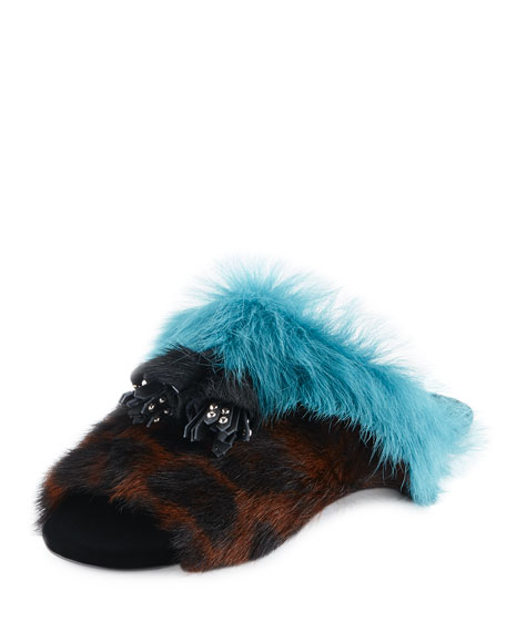 Prada Colorblock Fur Flat Mule Sandals, Leopard