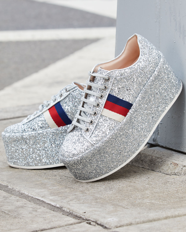 Gucci Peggy Glitter Platform Low-Top