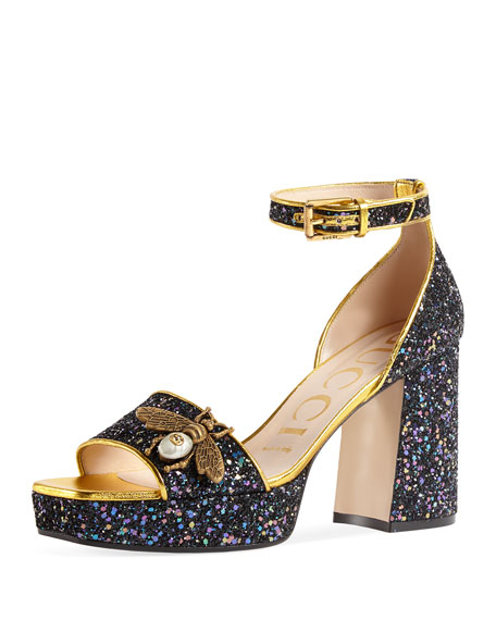 Gucci Soko Glitter Sandal with Bee Detail