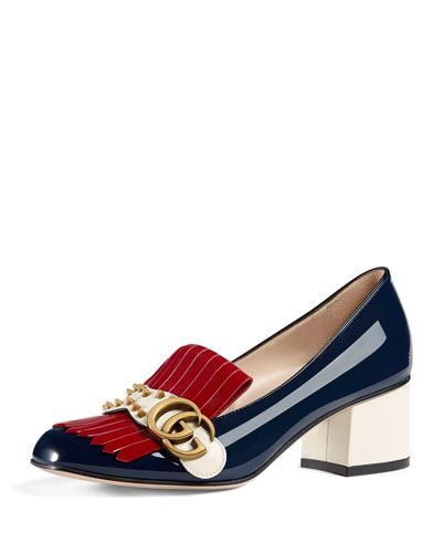 GG Marmont Colorblock Pump, Blue/Red