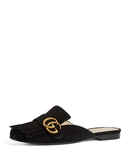 Marmont Fringed Logo-Embellished Suede Slippers in Black